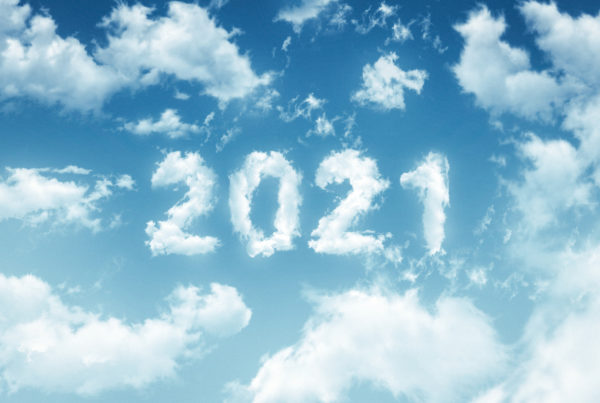 clouds shaped in numbers reading '2021' in the sky