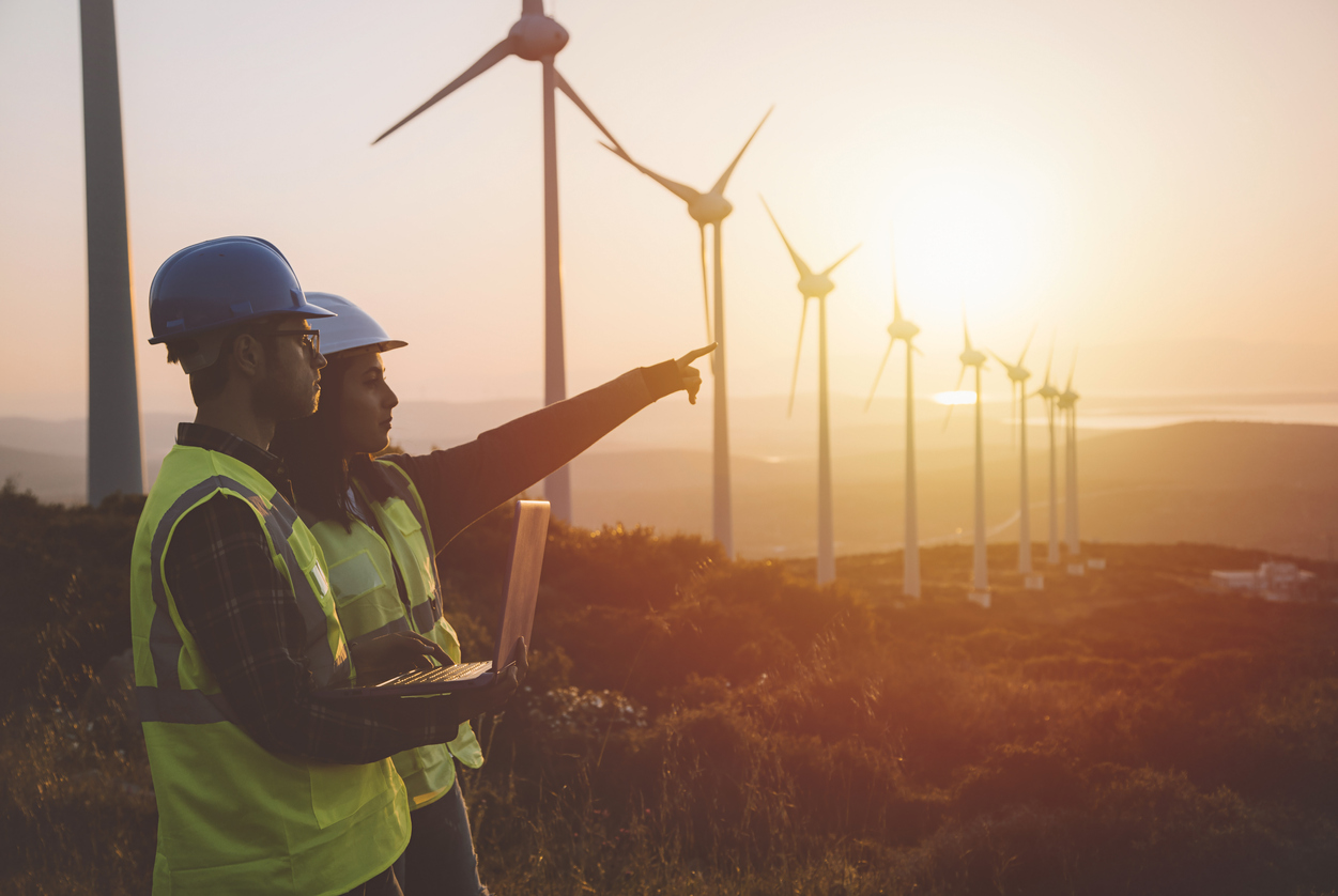 Man and woman in hard hats pointing towards wind turbines