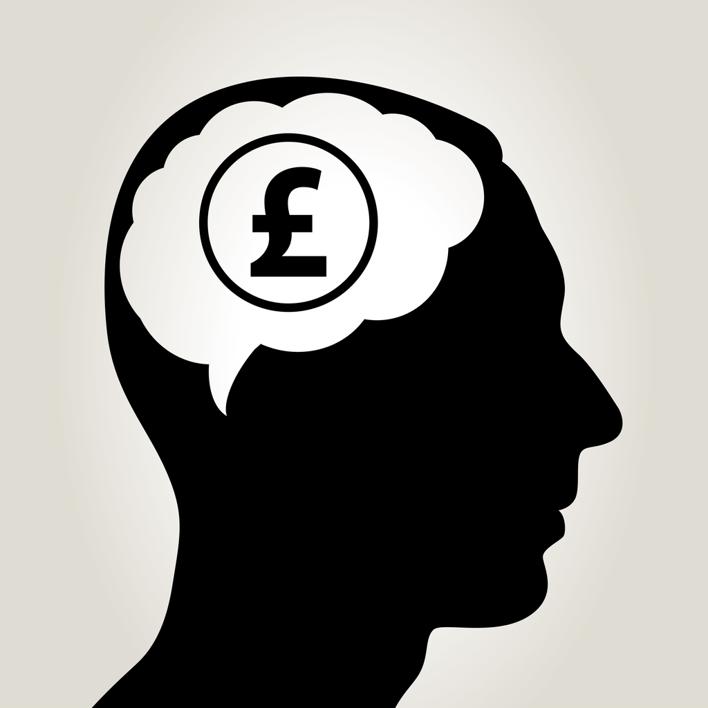 Silhouette of man's head with brain highlighted in white with a pound symbol